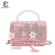 RARE CREATIVE 2019 Luxury Woolen Top Handle Bags Women Handbag Letter Wide Shoulder Strap Pearl Messenger Bag HM6035