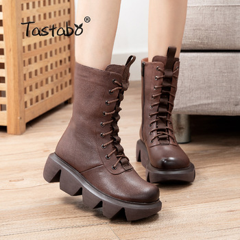 Women Winter Shoes Genuine Leather Army Boots Platform Warm Natural Wool Snow Martin A89703