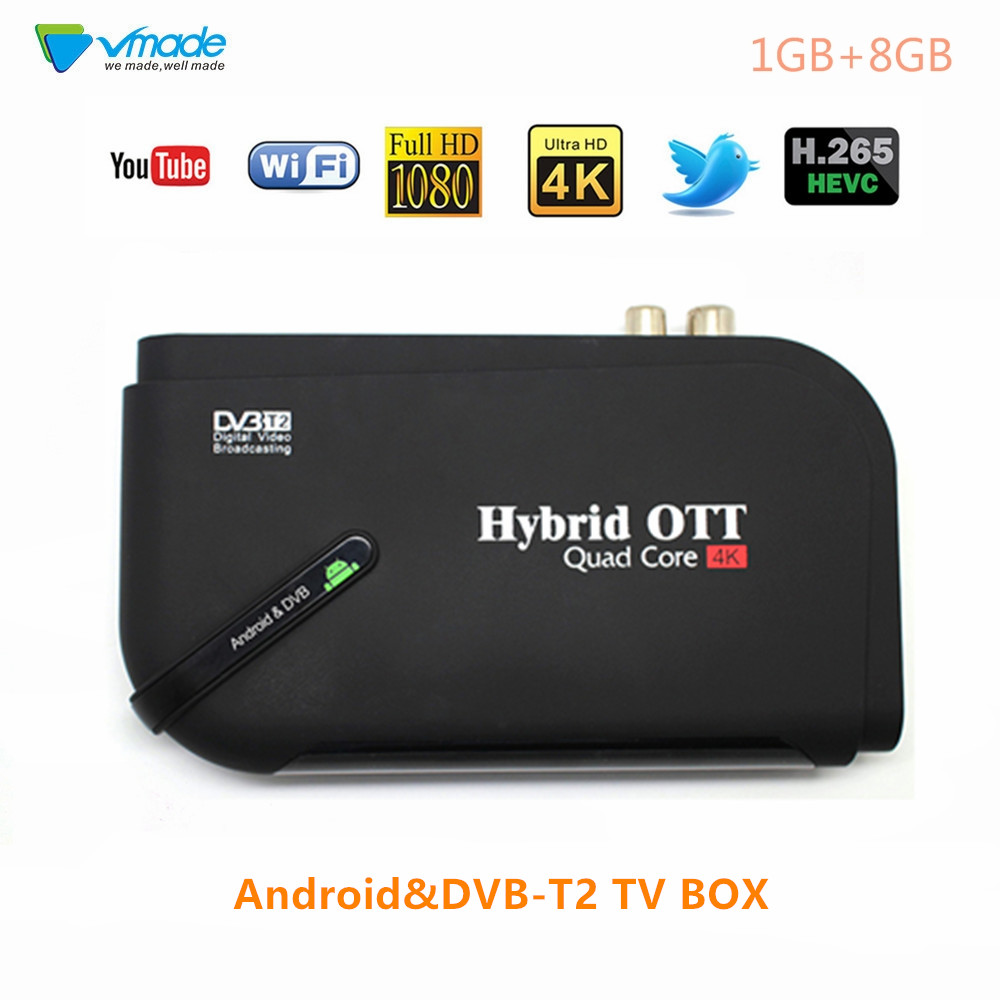 Vmade Newest Andriod & DVB T2 TV Receiver Amlogic S905D Quad Core 1GB 8GB Support Netflix YouTube H.265 MPEG-1/2/4 Set Top Box