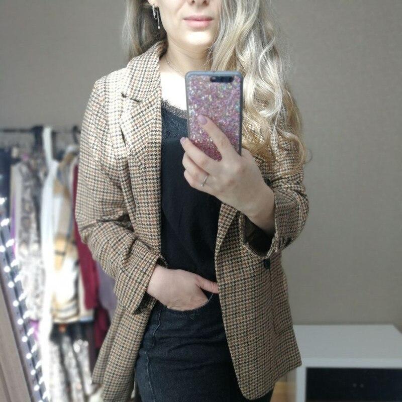 HziriP New 2020 Spring Autumn Women's Blazers Sashes Jackets Notched Outerwear England Style OL Vintage Plaid Blazer Woolen Coat