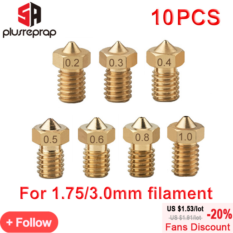 10pcs/lot M6 Threaded Nozzle Full Metal 0.2/0.3/0.4/0.5/0.6mm Optional For 1.75/3.0mm Filament V5 V6 Hotend Extruder 3D Printer