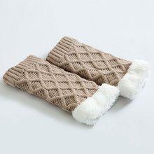 Вязаные чехлы для ног, утолщенные наколенники, теплые гетры и шерстяные гетры с ромбовидной сеткой, бархатные носки