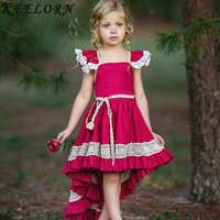 Keelorn bébé fille robe Style européen et américain enfants robe Plaid volant manches enfants robe d'anniversaire filles Princes