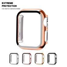 Стекло + Полное покрытие для Apple Watch series 6 SE 5 4 3 21, бампер, жесткая рамка, чехол-пленка для iWatch, защита экрана 38 мм 40 мм 42 мм 44 мм