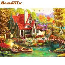 RUOPOTY Bridge rzeka i krajobraz domu malowanie przez zestawy liczb dla dorosłych na płótnie salon dekoracja sypialni zdjęcia