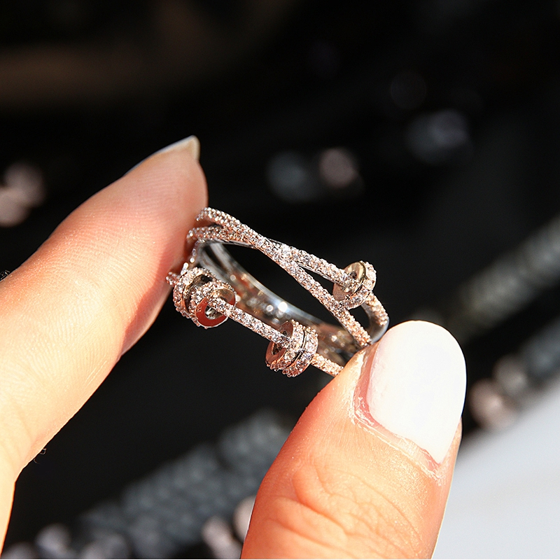 Moving Round Circle Zircon Pure 925 Sterling Silver Finger Ring Double Layer Star Ring Love Forever Women Wedding  Jewelry