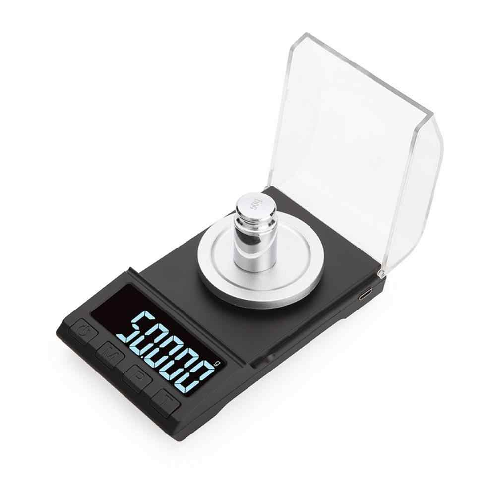 Escala eletrônica 10g/20g/50g/0.001g da elevada precisão 100g digital que pesa escalas do pó do laboratório da escala do diamante da joia do miligrama