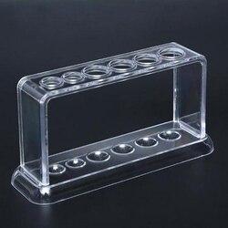 Plastic Clear Test Tube Rack 6 Holes Stand Lab Test Tube Stand Shelf School Supply Lab Equipment 16.7*8*3cm