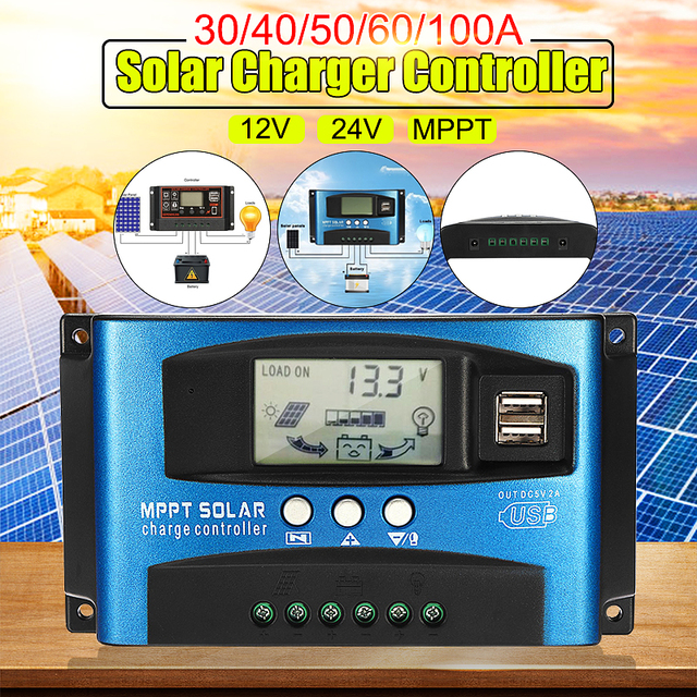 Genaue MPPT 40/50/60/100A Solar Laderegler 12V 24V Auto LCD Display Controller mit Last Dual Timer Control