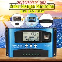 دقيقة MPPT 40/50/60/100A الشمسية تهمة منظم 12 فولت 24 فولت السيارات شاشة الكريستال السائل تحكم مع تحميل المزدوج صندوق مؤقت للاستحمام