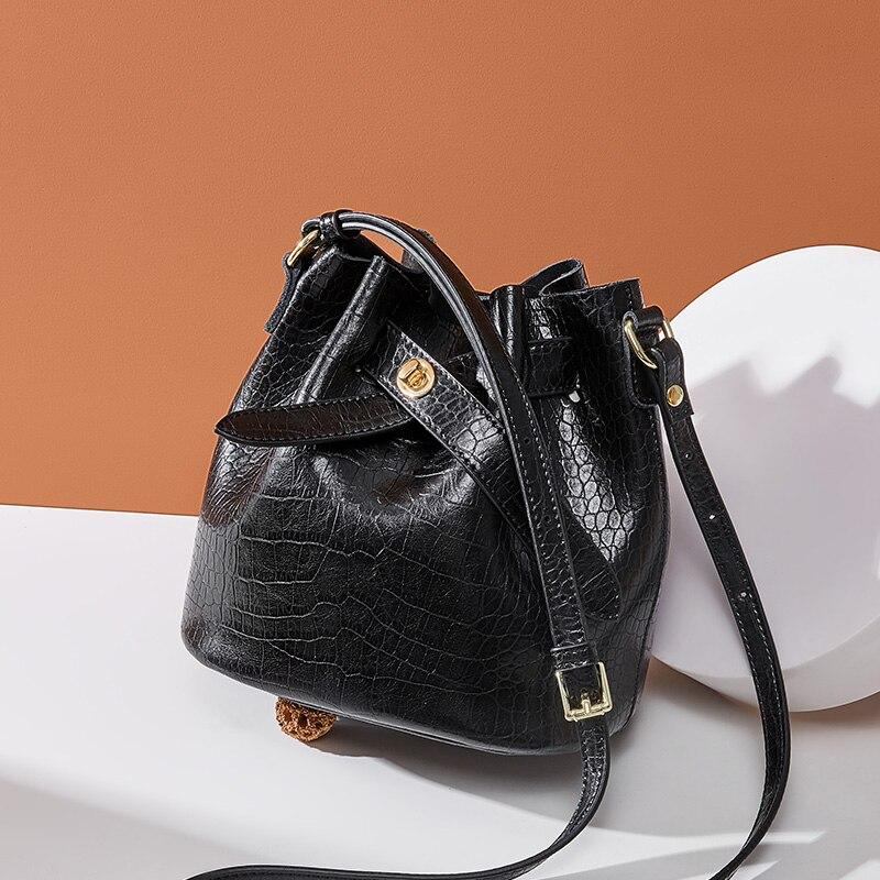 2019 nova mulheres balde couro do couro bolsa mulheres bolsas de ombro negro cor corssboy sacos do mensageiro para as mulheres - 2
