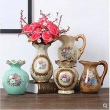 Florero pequeño de decoración pastoral europea, jarrón de leche de mesa de país americano, artesanía de cerámica vintage, decoración del hogar