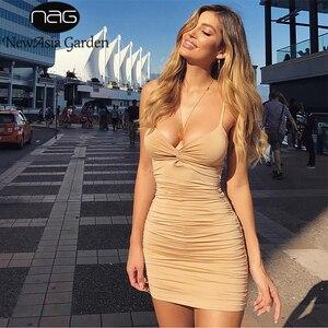 Image 1 - NewAsia 2 שכבות Ruched סקסי Bodycon שמלת נשים קיץ שמלה אלגנטית מיני שמלת המפלגה מועדון ללבוש גבירותיי שמלות חג המולד מתנה