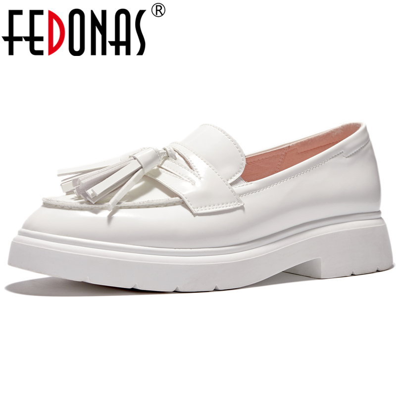 FEDONAS Euro Style Concise Casual Women Patent Leather Loafers Shoes Removable Fringe Round Toe Square Toe Slip-On Shoes Woman