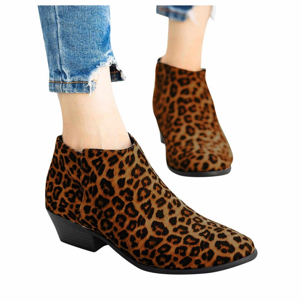 Botas de cabeza redonda para mujer, botas casuales de tobillo superficial cortas, estilo Retro, con cremallera, zapatos de tacón para cachorros, botas de nieve de leopardo para mujer