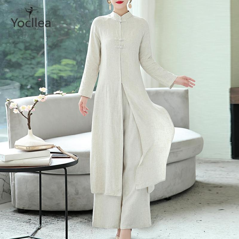 Two Piece Set Ladies 2020 Loose Casual Long Sleeve Cotton And Linen Dress  Wide Leg Pants Women's Set 2 Pieces