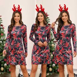 Women's Xmas Dress Snowman Snow Reindeer Long Sleeve Christmas Party A-Line Mini Dress Plus Size S-3XL 4