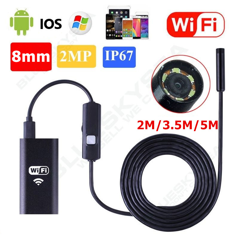 LESHP 2m/3.5m/5m 8mm 6LED Light Waterproof WiFi Borescope Inspection Endoscope Snake Tube Camera HD 720p For Mobile Phones
