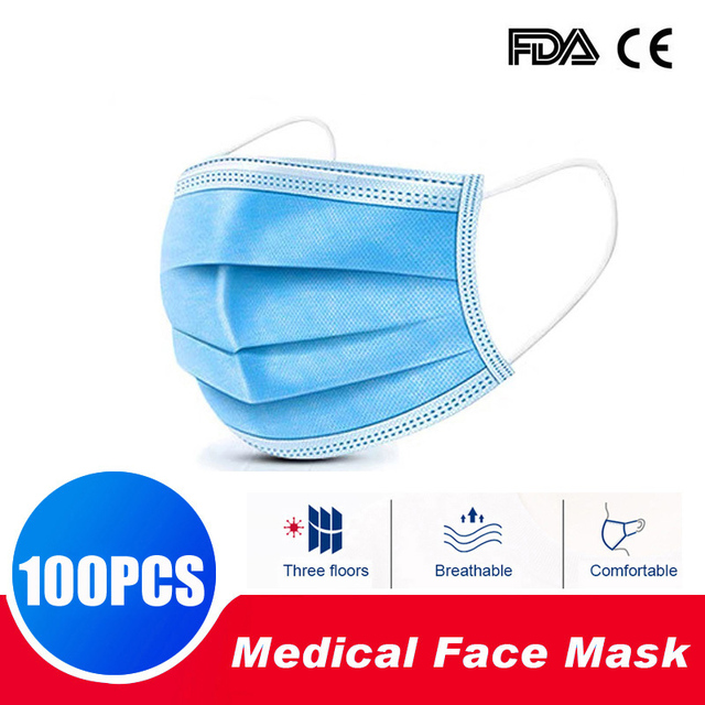100Pcs Medical Masks FFP3 Face Respirator Three-layer Non-woven Fabric Windproof Mouth-muffle Flu PM2.5 Protective mask