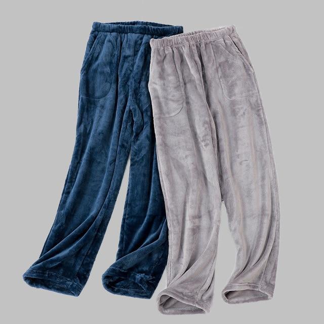Autumn Winter Long pants Warm Flannel Men's solid Pajama Thick Men Sleepwear Coral Fleece Sleep Lounge Pajamas Clothing
