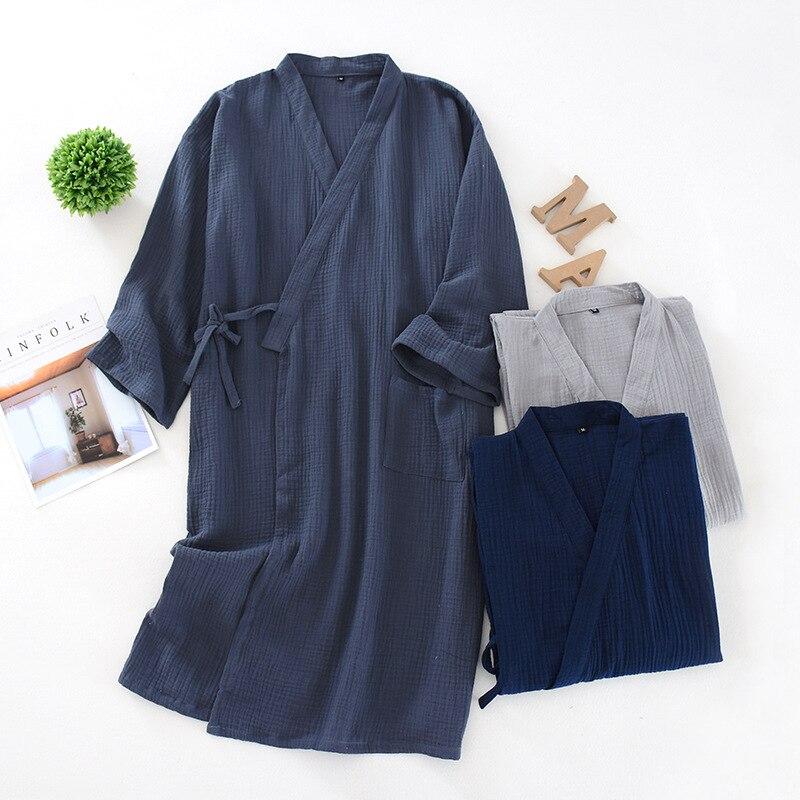 Spring And Summer Thin Men Kimono 100% Cotton Crepe Men'S Nightgown Sleepwear Large Size Bathrobe Sweat Steam Clothing пижама
