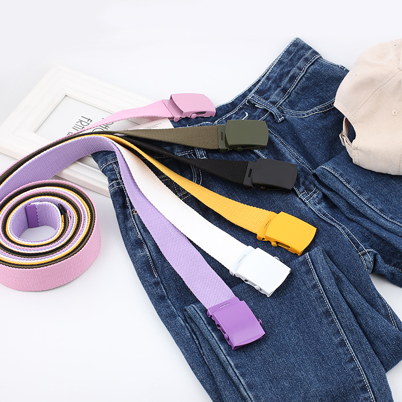 Men Women Automatic Fashion Nylon Belt Buckle Fans Canvas Belt Youth Colorful  Belt  Thicken Long Cloth Belts Knitted Waistband