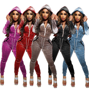 Echoine Women Fall Winter Velvet Sweatsuit Set Hooded Track Jacket Jogger Pants Set Active Tracksuit Two Piece Sportwear Outfits