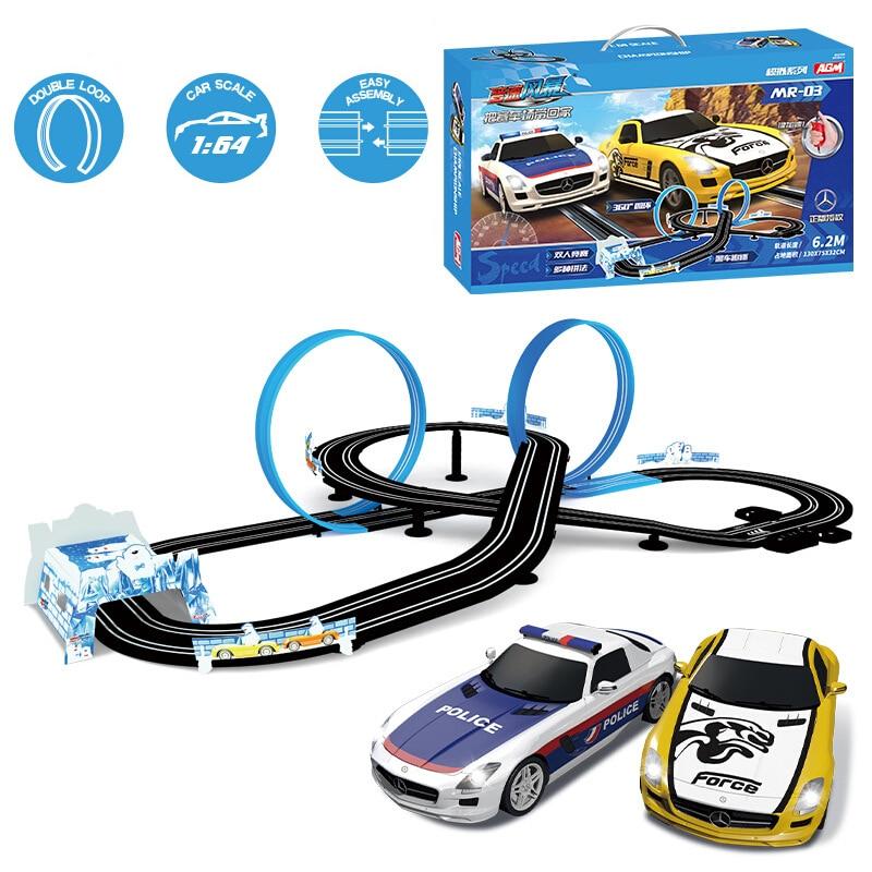 Электрический гоночный автомобиль с двойным пультом дистанционного управления, гоночный трек, игрушка Autorama, профессиональный гоночный авт...