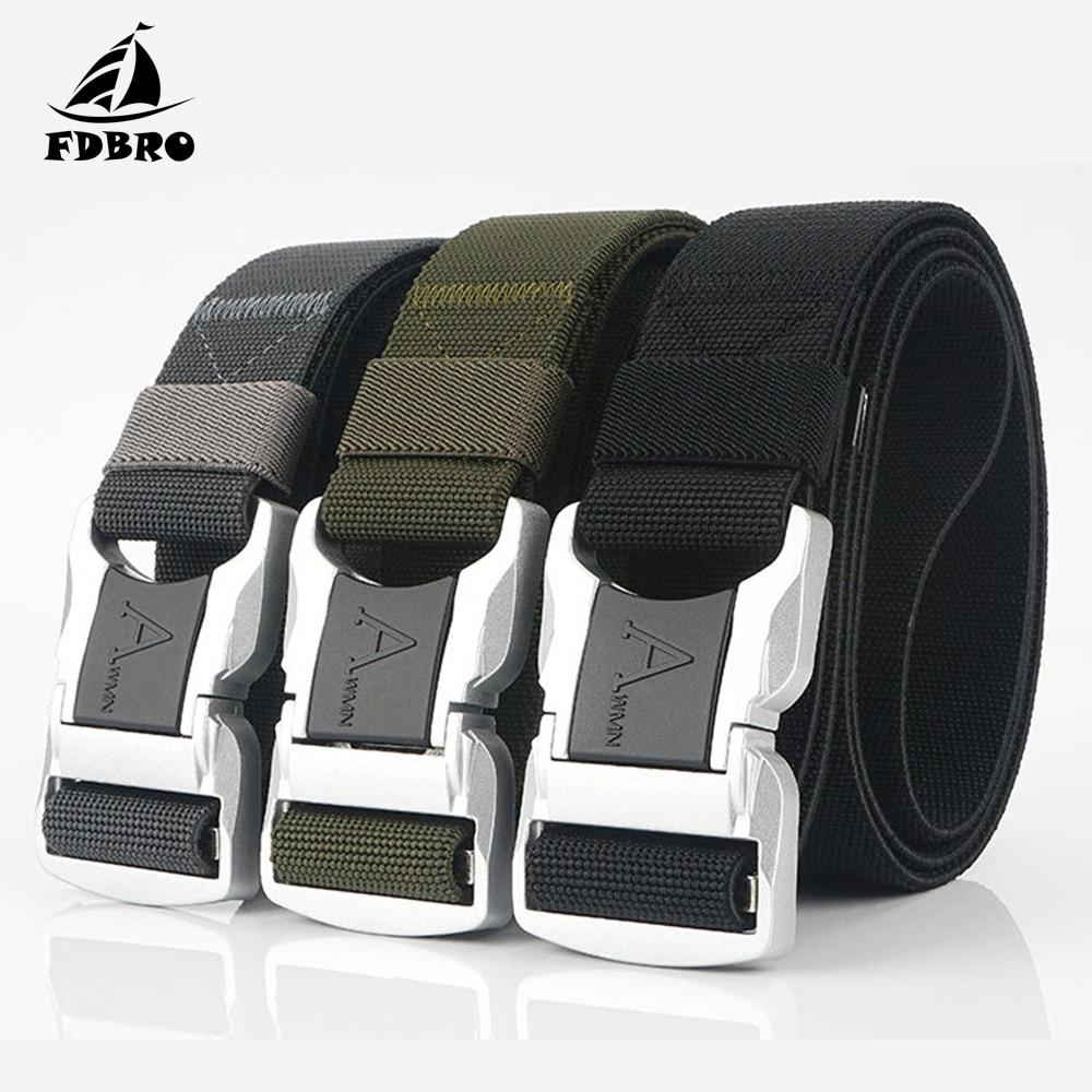 FDBRO Tactical Belt Elastic Men Aluminum Alloy Silver Safety Buckle Army Belt Tactical Canvas Nylon Battle Belt Utility Waist Support    - AliExpress