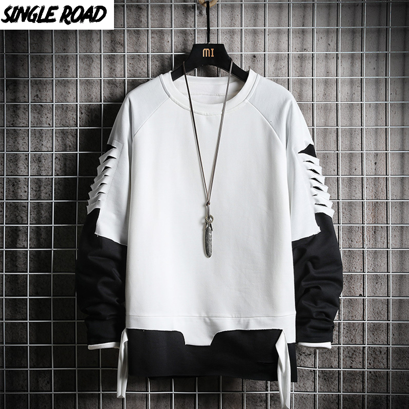 SingleRoad Ripped Crewneck Sweatshirt Men 2020 Oversized Streetwear Hip Hop Patchwork Men's Hoodies Sweatshirts Male Tracksuit