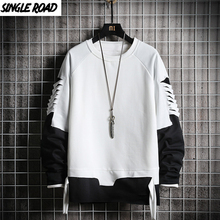 SingleRoad Ripped Crewneck Sweatshirt Men 2020 Oversized Streetwear Hip Hop Patchwork Mens Hoodies Sweatshirts Male Tracksuit