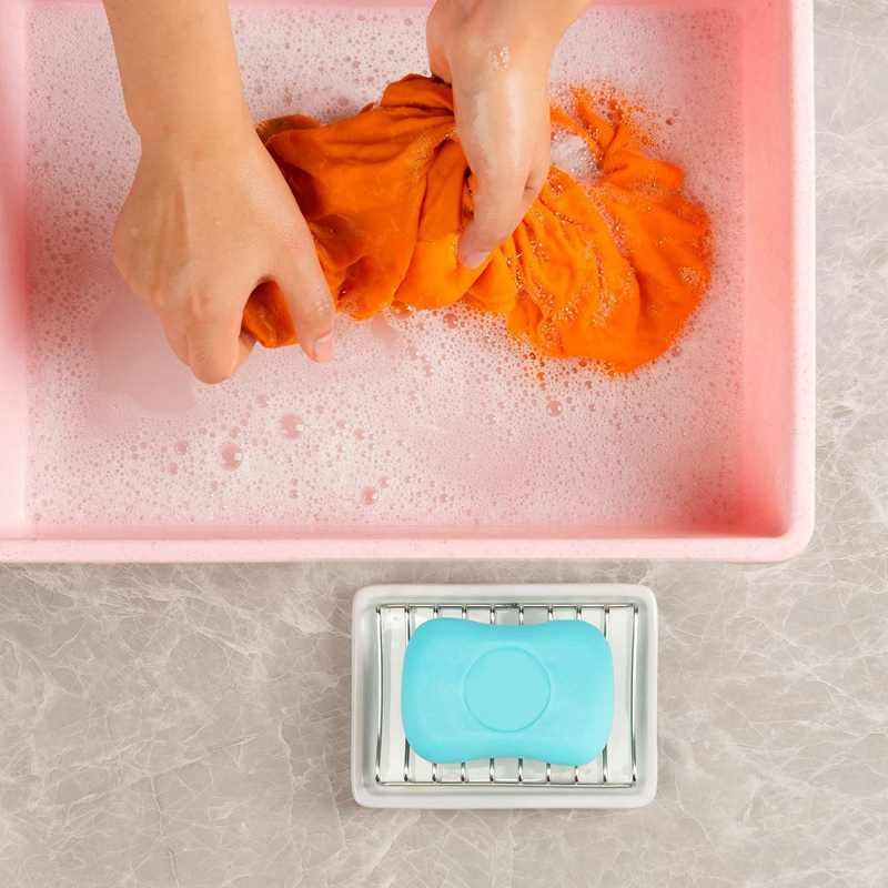 Ceramiczne mydelniczki, dwuwarstwowe mydło do kąpieli tacka ze stali nierdzewnej z siatką drenażową i uchwytem do łazienki, wanny i Kitc