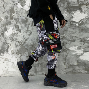 Image 2 - 11 BYBBS DARK Hip Hop Big Pocckets Graffiti Men Harem Cargo Pants 2019 Harajuku Sweatpants Joggers Trouser Streetwear Oversized