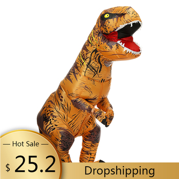 Cartoon Adult Kids Dinosaur Inflatable Costumes Fancy Halloween Cosplay Party Costume Purim Fantasy Carnival T-Rex Dino Suit