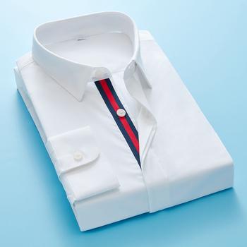 Koszula męska wiosna jesień koszula na co dzień 2020 modny haft biznes formalny długi guzik na rękawie Slim dopasowane koszule wysokiej jakości tanie i dobre opinie COTTON Sukienka z krótkim rękawem Pełna 1012228 Skośnym Skręcić w dół kołnierz Formalne Pojedyncze piersi Stałe