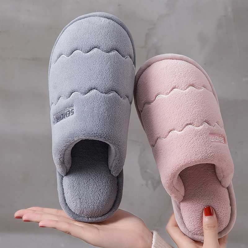 Women Winter Home Slippers Solid Non-slip Warm Indoors Bedroom Floor Shoes Plush Slippers Couple Faux Fur Slides Flip Flops 2019