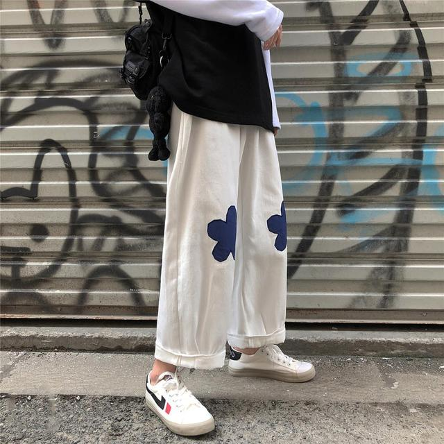 2020 Men's Embroidery Flower Printing Wide Leg Pants Lattice Leisure Casual Pants Hip-hop Style High Quality Trousers Size M-XL 4