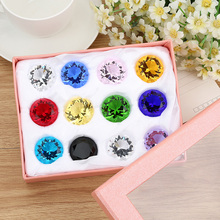 цена на 12pcs/set Crystal Glass Marbles Diamond Figurines Paperweight Feng Shui Miniature Collectible Gems Crafts Ornaments