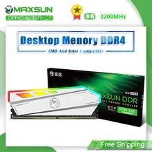 MAXSUN-memoria RAM de iluminación RGB, ddr4, 8GB, 3200MHz, interfaz, 288Pin, voltaje de la memoria, 1,2 V, garantía de por vida, Original