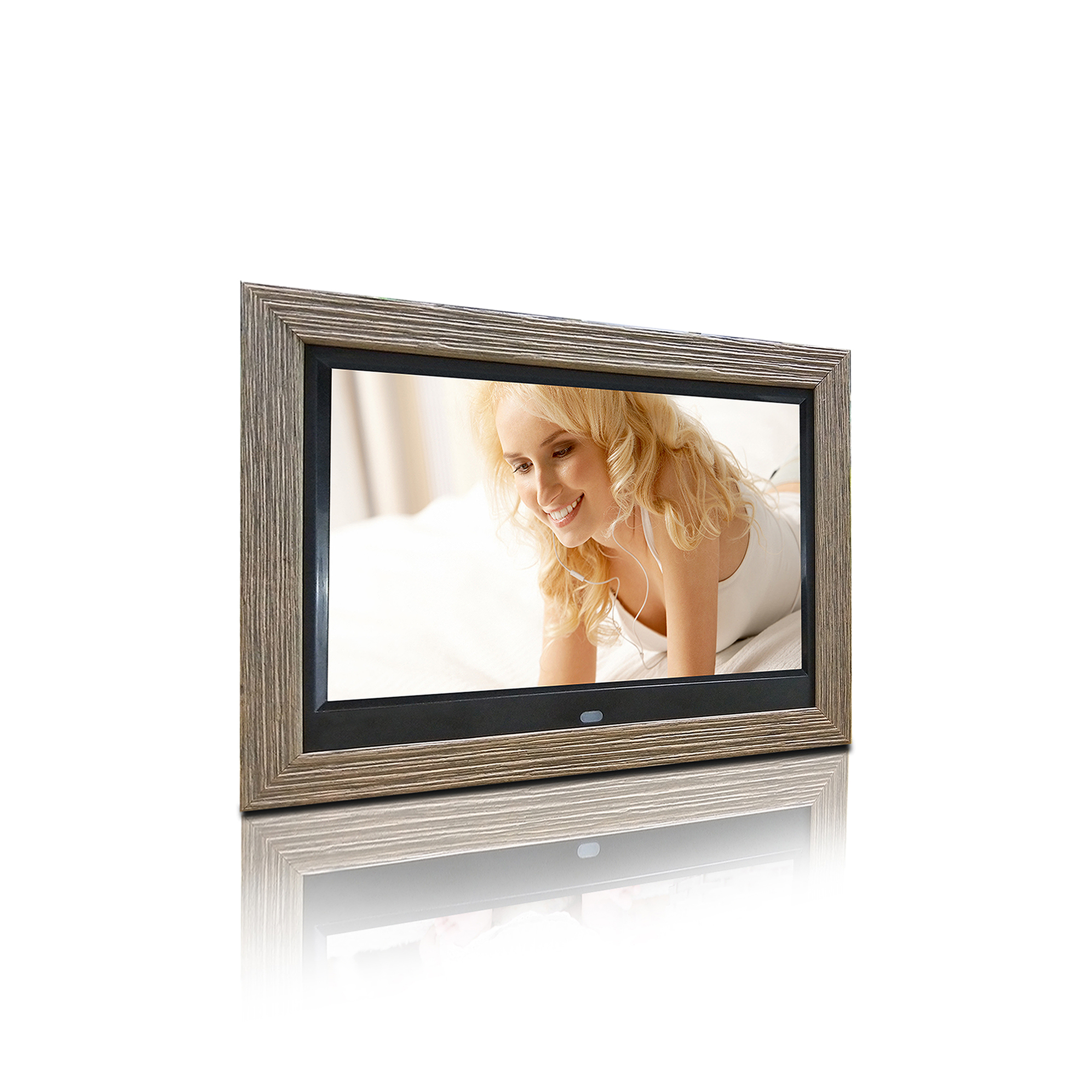 10 inches customized digital photo frame with wood picture