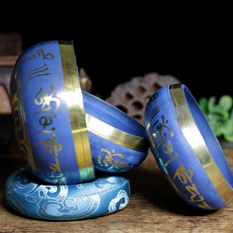Silent Mind ทิเบตร้องเพลงชามชุดสีฟ้าการออกแบบพื้นผิวแบบ Dual Mallet และผ้าไหมเบาะส่งเสริมสันติภาพ