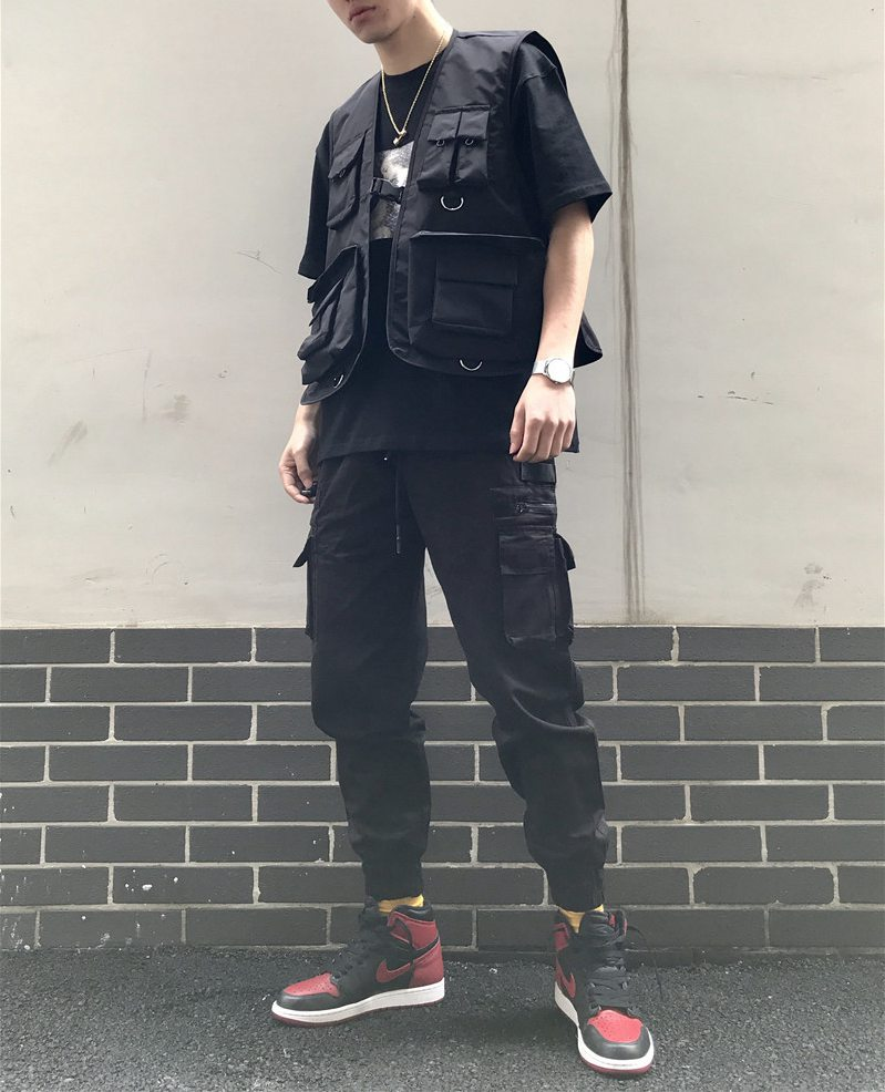 2019 Military Multiple Pockets Cargo Vest Hip Hop Vest Men Dad Core Vest Sleeveless Jacket Gilet Men's Vest Streetwear