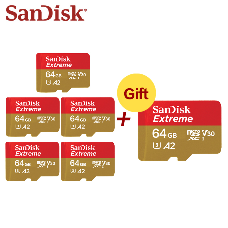 Wholesale SanDisk Extreme Micro SD 128GB TF Flash Card A1 A2 MicroSD 32GB 64GB Memory Card 32 64 128 GB Micro SD Card SD U1 U3