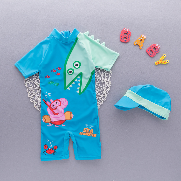 Boys' Cotton One-piece Swimsuit Children Bubble Hot Spring Swimwear Infant Pig Mixed Colors Shark Sleeve Tour Bathing Suit