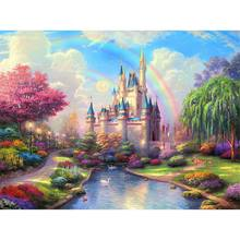 DIY 5D Rainbow Castle Diamond Painting Craft Cross Stitch Embroidery Home Decor(China)