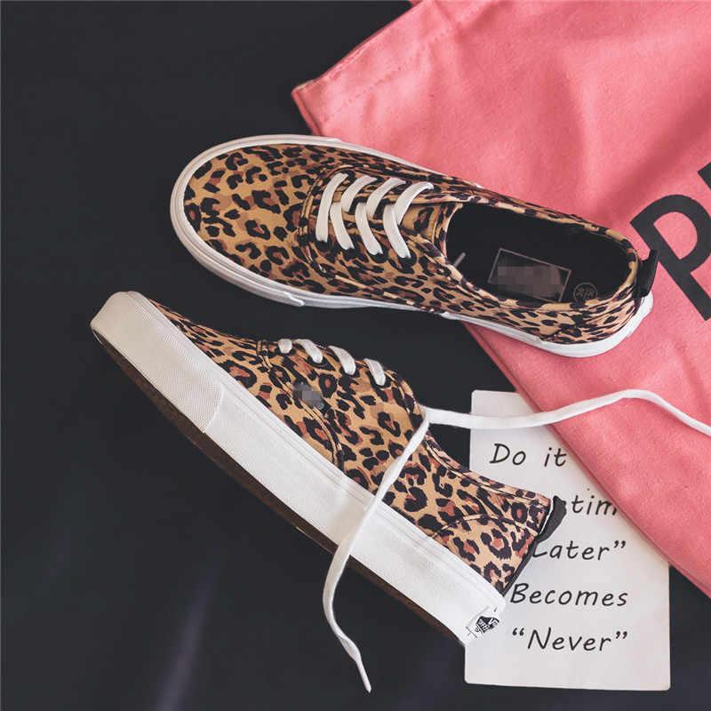 ผู้หญิงผ้าใบรองเท้า Leopard Lace Lady รองเท้าผ้าใบ 2019 แบนส้นหนาผ้าใบ Ins ขายร้อนแฟชั่นรองเท้า 35- 40 Tenis Feminino