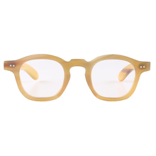 Sunglasses Frame Semitransparency Yellow Rivets Decorated-Horn Flower-Bridge Jelly-Color