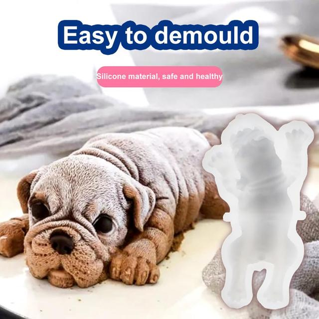 Cute 3D Shar Pei Dog Silicone Mold Mousse Cake Ice Cream Pudding Mold Blast Chilling Tool Baking Tool Baking Pastry Decorating 1