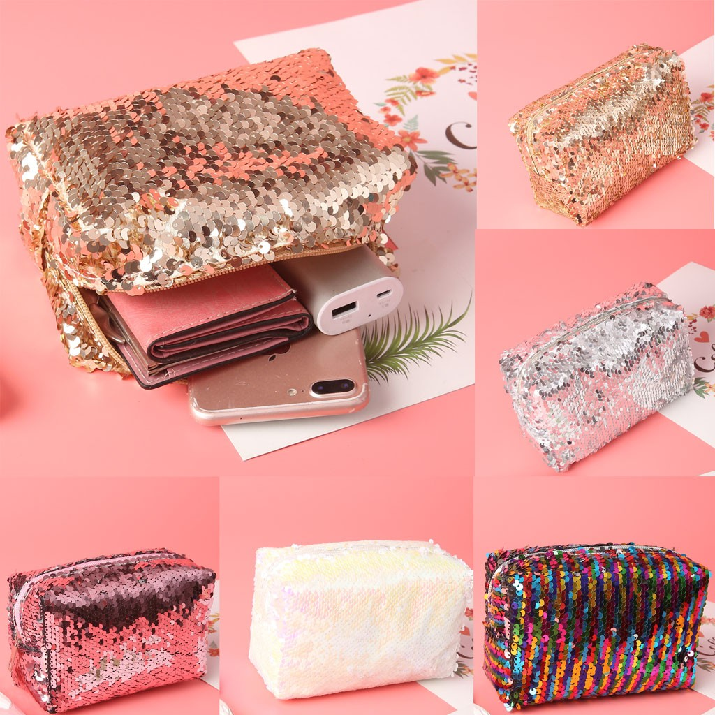 Trendy Cosmetic Bag For Women Outdoor Fashion Makeup Bag Trend Short Solid Color Pouch Leather Sequin Pencil Makeup Case #C12