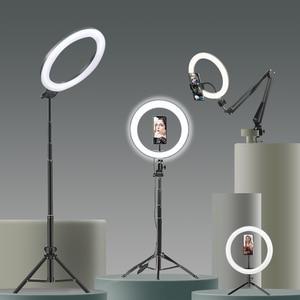Image 1 - Selfie Ring Light Photography light led rim of lamp with mobile Holder large tripod stand for tik tok Youtube  RGB Led lights